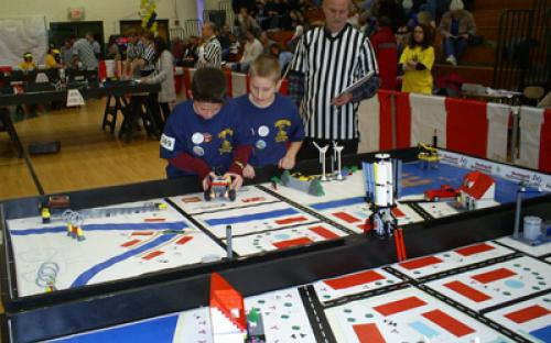 Participants compete in the 2008 FIRST LEGO League Tournament.